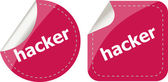Hacker stickers set on white, icon button isolated on white — Stock Photo