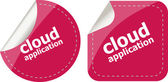 Cloud application stickers label tag set isolated — Stock Photo