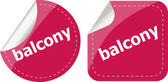 Balcony word on stickers button set, label, business concept — Stock Photo
