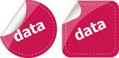 Data word stickers web button set, label, icon — Stock Photo