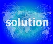 De woord-oplossing op het digitale scherm, bedrijfsconcept — Stockfoto