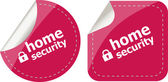 Home security with lock on black stickers set — Stock Photo