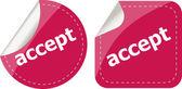 Black accept stickers set on white, icon button — Stock Photo