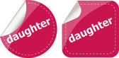 Dochter woord-stickers web knop set, label, pictogram — Stockfoto
