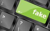 Fake button on computer pc keyboard key — Stock Photo