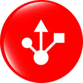 USB 2.0 or 3.0 sign icon on glossy button — Stock Photo