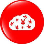 Web icon cloud with yen sign, web button isolated on white — Stock Photo