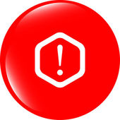 Attention sign icon. Exclamation mark. Hazard warning symbol. Modern UI website button — Stock Photo