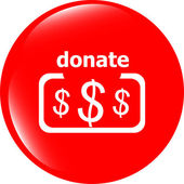 Donate sign icon. Dollar usd symbol. shiny button. Modern UI website button — Stock Photo