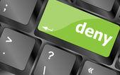 Deny word on computer pc keyboard key — Stock Photo
