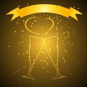 Hochzeit gläser mit band in gold farbe — Stockvektor