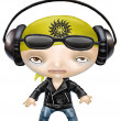 Stock Photo: Rock and roll girl wearing headphones