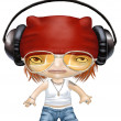 Cartoon of street tough girl wearing headphones - Stock Photo