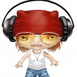 Cartoon of street tough girl wearing headphones — Stock Photo