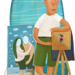 Beach photographer — Stock Photo