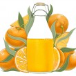 Bottle of orange juice - Stockfoto