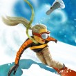 Girl on snowboard - Stock Photo