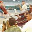 Stock Photo: Music band playing on board of a ship