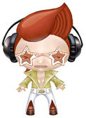 Rock star wearing headphones — Stock Photo