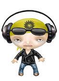 Rock and roll girl wearing headphones — Stock Photo