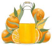 Bottle of orange juice — Stock Photo