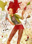 Singing red hair girl — Stock Photo