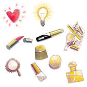 Set of woman cosmetics objects — Stock Photo
