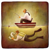 Modelo ilustrativo de trabalho freelance — Foto Stock
