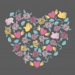 Valentine ornate in shape of heart — Stock Vector