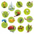 Stock Vector: Green round sport icons