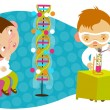 Stock Vector: Children using chemistry set