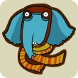 Sick winter elephant in a scarf - Stock Vector