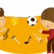 Children juggling sports and music - Stock Vector