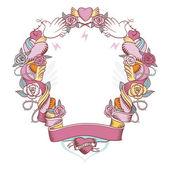 Růžový medailónek s holubicemi, růže a srdce — Stock vektor