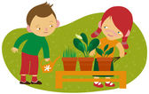 Children gardening — Vettoriale Stock
