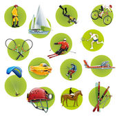 Green round sport icons — Stock Vector