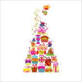 Tarjeta de felicitación de navidad regalo colorido — Vector de stock