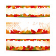 Set of Colorful Autumn Leaves Banner or Web Header — Stock Vector
