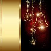 闪亮红色圣诞铃铛雪花贺卡 — 图库矢量图片