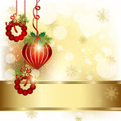 Christmas Ornament on Gold Color Background — Stock Vector