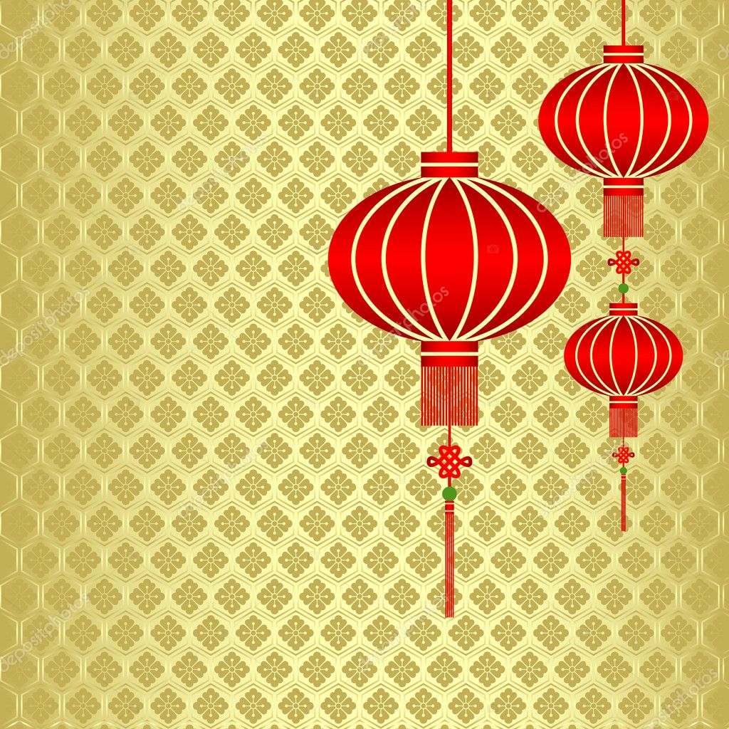 Chinese New Year Red Lantern Background — Stock Vector © meikis ...