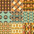 Set of 70s Seamless Patterns Design — Stok Vektör