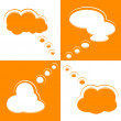 Stock Vector: Set of Cloud Shape Speech Bubbles