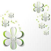 Flor de papel blanco en el diseño de la tarjeta de fondo verde — Vector de stock