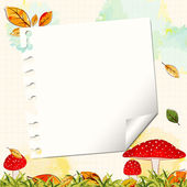 Colorful Autumn Background with Notepaper — Stock Vector
