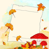 Colorful Autumn Background with Leaf and Notepaper — Stok Vektör