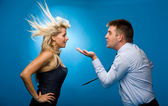 Man blows on the woman — Stock Photo