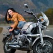 Stock Photo: Girl on motorcycle