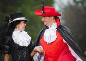 Muž a žena v kroji — Stock fotografie