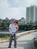 Man and woman in the city — Stock Photo